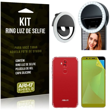 Ring Luz de Selfie Zenfone 5 Selfie ZC600KL Flash Ring + Capa + Película Gel - Armyshield