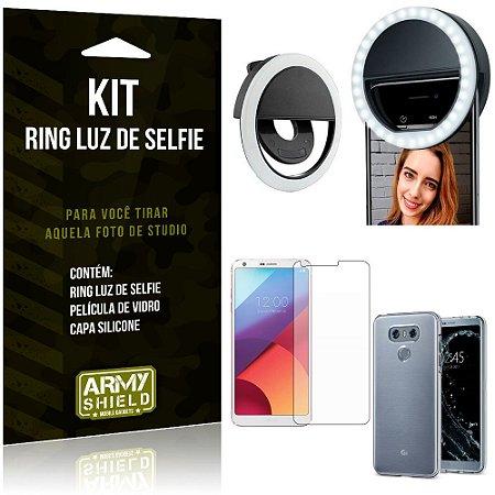 Ring Luz de Selfie LG G6 Flash Ring + Capa Silicone + Película Vidro - Armyshield