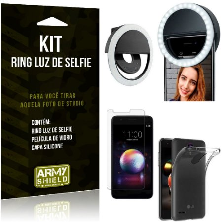 Ring Luz de Selfie LG K11 Plus Flash Ring + Capa Silicone + Película Vidro - Armyshield