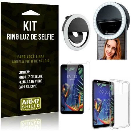 Ring Luz de Selfie LG K12 Plus Flash Ring + Capa Silicone + Película Vidro - Armyshield
