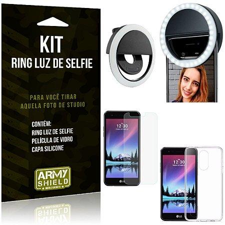 Ring Luz de Selfie LG K4 Novo Flash Ring + Capa Silicone + Película Vidro - Armyshield