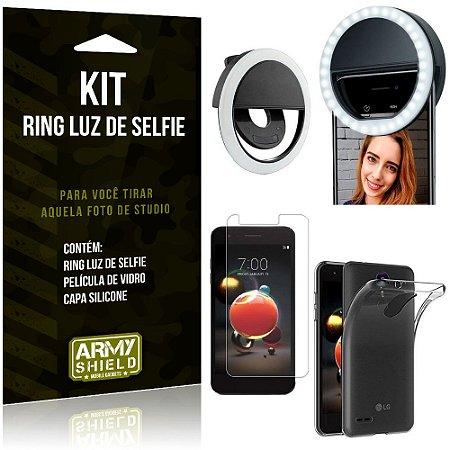 Ring Luz de Selfie LG K9 Flash Ring + Capa Silicone + Película Vidro - Armyshield
