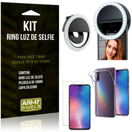 Ring Luz de Selfie Xiaomi Mi 9 Flash Ring + Capa Silicone + Película Vidro - Armyshield
