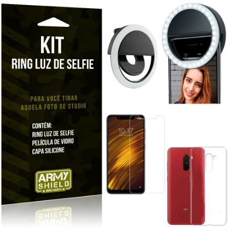 Ring Luz de Selfie Xiaomi Pocophone F1 Flash Ring + Capa Silicone + Película Vidro - Armyshield