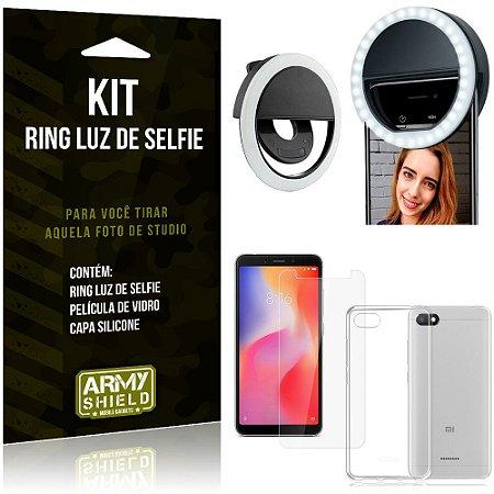 Ring Luz de Selfie Xiaomi Redmi 6A Flash Ring + Capa Silicone + Película Vidro - Armyshield