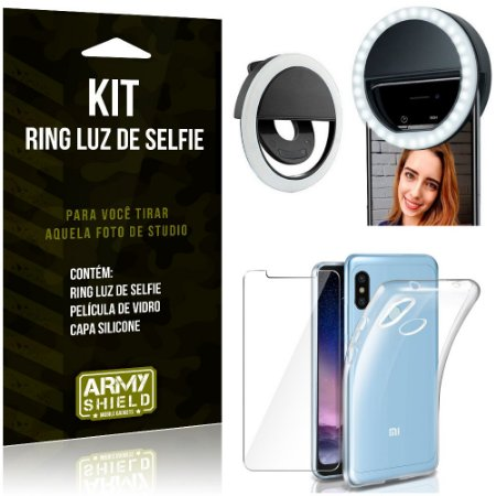 Ring Luz de Selfie Xiaomi Redmi Note 6 Pro Flash Ring + Capa Silicone + Película Vidro - Armyshield