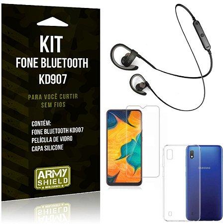 Fone Bluetooth Sport KD907 Galaxy A10 Fone + Capa Silicone + Película Vidro - Armyshield