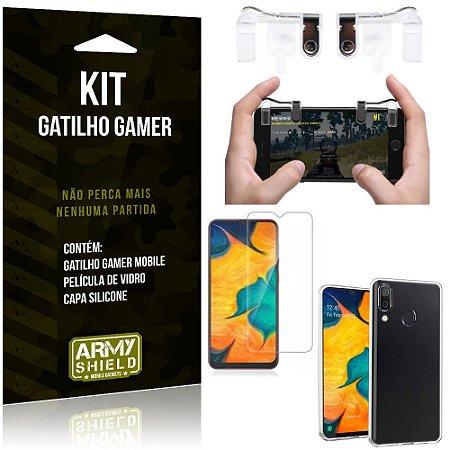 Gatilho Gamer Samsung Galaxy A30 Gatilho + Capa Silicone + Película Vidro - Armyshield