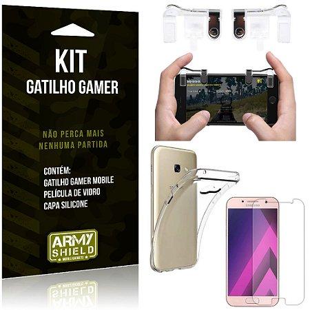 Gatilho Gamer Samsung Galaxy A3 (2017) Gatilho + Capa Silicone + Película Vidro - Armyshield