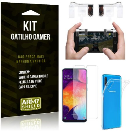 Gatilho Gamer Samsung Galaxy A50 Gatilho + Capa Silicone + Película Vidro - Armyshield