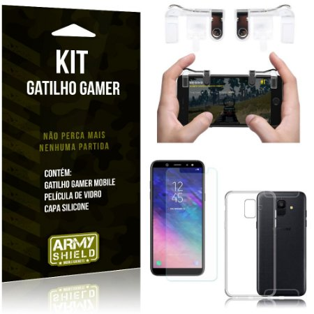Gatilho Gamer Samsung Galaxy A6 Gatilho + Capa Silicone + Película Vidro - Armyshield