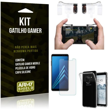 Gatilho Gamer Samsung Galaxy A8 Gatilho + Capa Silicone + Película Vidro - Armyshield