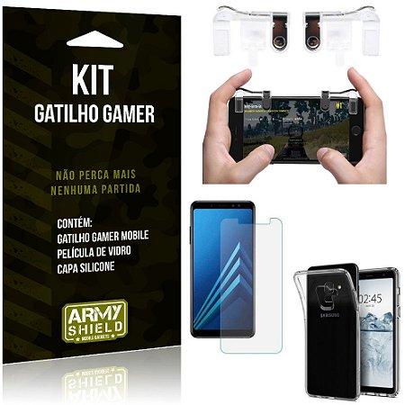 Gatilho Gamer Samsung Galaxy A8 Plus Gatilho + Capa Silicone + Película Vidro - Armyshield