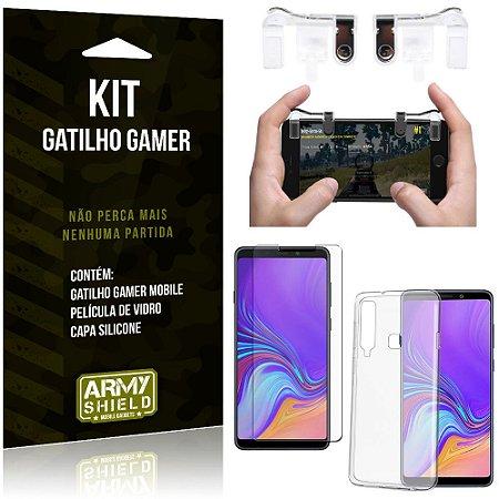 Gatilho Gamer Samsung Galaxy A9 (2018) Gatilho + Capa Silicone + Película Vidro - Armyshield