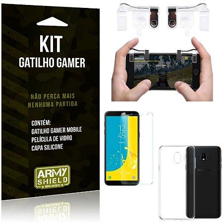 Gatilho Gamer Samsung Galaxy J4 (2018) Gatilho + Capa Silicone + Película Vidro - Armyshield