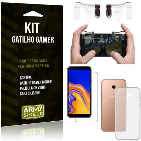 Gatilho Gamer Samsung Galaxy J4 Plus (2018) Gatilho + Capa Silicone+ Película Vidro - Armyshield