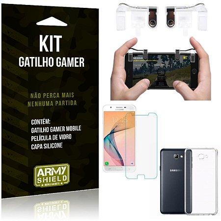 Gatilho Gamer Samsung Galaxy J5 Prime Gatilho + Capa Silicone + Película Vidro - Armyshield