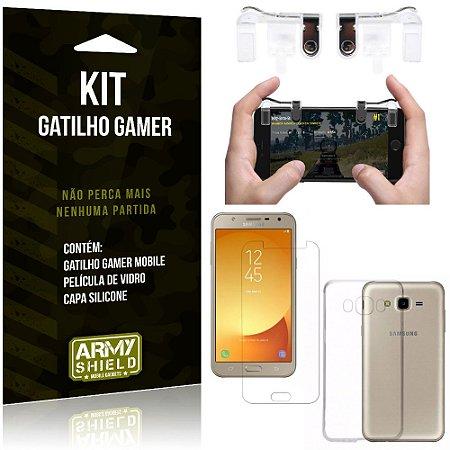 Gatilho Gamer Samsung Galaxy J7 Neo (2017) Gatilho + Capa Silicone + Película Vidro - Armyshield