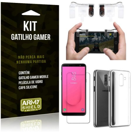 Gatilho Gamer Samsung Galaxy J8 (2018) Gatilho + Capa Silicone + Película Vidro - Armyshield