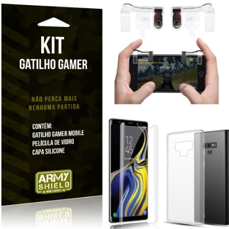 Gatilho Gamer Samsung Galaxy Note 9 Gatilho + Capa Silicone + Película Vidro - Armyshield