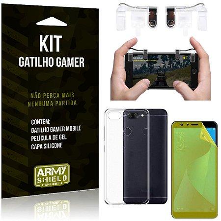 Gatilho Gamer Samsung Galaxy S10e Gatilho + Capa Silicone + Película Vidro - Armyshield