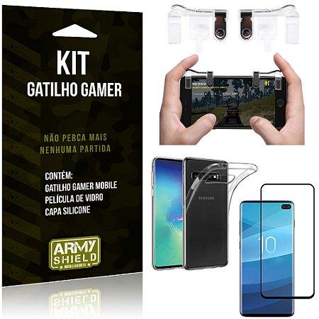 Gatilho Gamer Samsung Galaxy S10 Plus Gatilho + Capa Silicone + Película Vidro - Armyshield