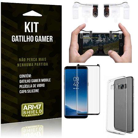 Gatilho Gamer Samsung Galaxy S8 Gatilho + Capa Silicone + Película Vidro - Armyshield