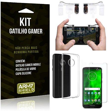 Gatilho Gamer Motorola Moto G6 Plus Gatilho + Capa Silicone + Película Vidro - Armyshield