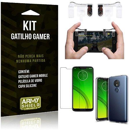 Gatilho Gamer Motorola Moto G7 Power Gatilho + Capa Silicone + Película Vidro - Armyshield