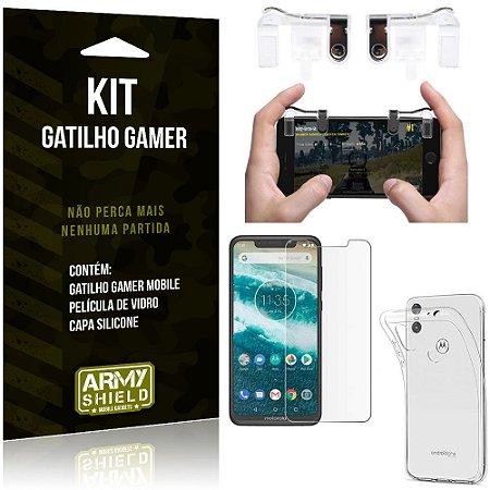 Gatilho Gamer Motorola Moto One Gatilho + Capa Silicone + Película Vidro - Armyshield