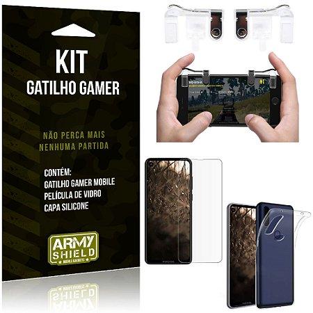 Gatilho Gamer Motorola Moto One Vision Gatilho + Capa Silicone + Película Vidro - Armyshield