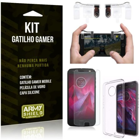 Gatilho Gamer Motorola Moto X4 Gatilho + Capa Silicone + Película Vidro - Armyshield