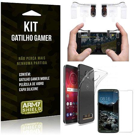 Gatilho Gamer Motorola Moto Z3 Play Gatilho + Capa Silicone + Película Vidro - Armyshield