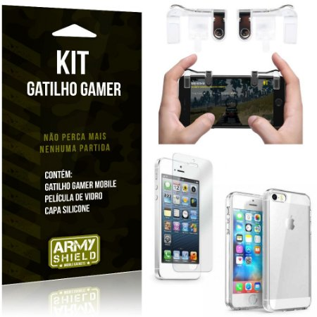 Gatilho Gamer Apple iPhone 5 - 5S - SE Gatilho + Capa Silicone + Película Vidro - Armyshield