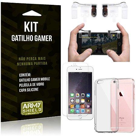 Gatilho Gamer Apple iPhone 6 Plus - 6S Plus Gatilho + Capa Silicone+ Película Vidro - Armyshield