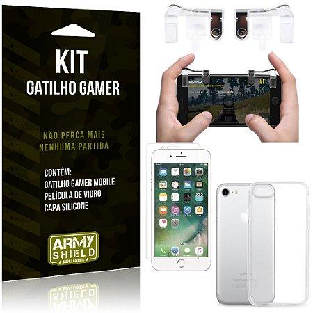 Gatilho Gamer Apple iPhone 7 Gatilho + Capa Silicone + Película Vidro - Armyshield