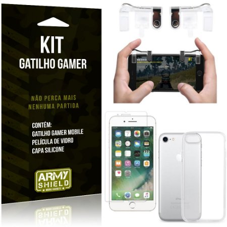 Gatilho Gamer Apple iPhone 8 Gatilho + Capa Silicone + Película Vidro - Armyshield