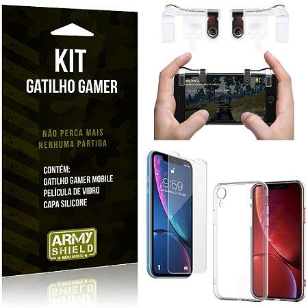 Gatilho Gamer Apple iPhone XR 6.1 Gatilho + Capa Silicone + Película Vidro - Armyshield