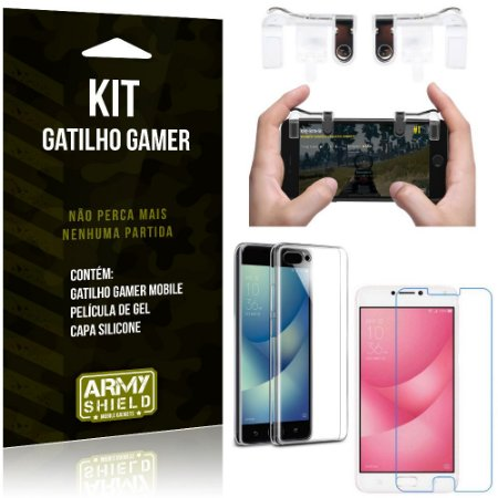 Gatilho Gamer Zenfone 4 Max - 5.5' ZC554KL Gatilho + Capa Silicone + Película Gel - Armyshield