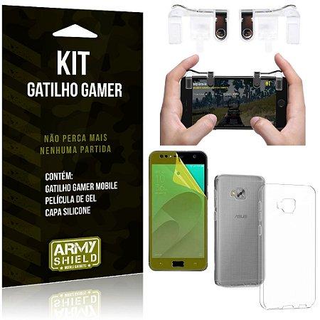 Gatilho Gamer Zenfone 4 Selfie ZD553KL Gatilho + Capa Silicone + Película Gel - Armyshield