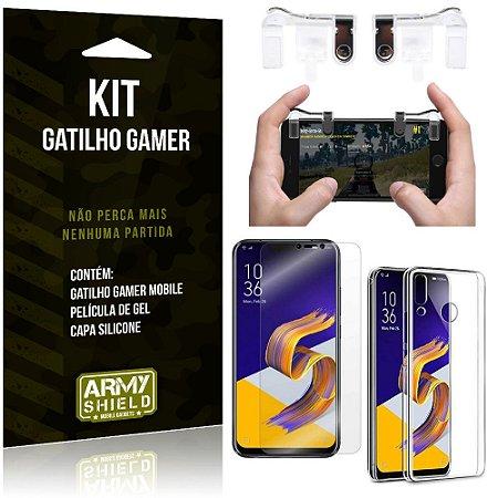 Gatilho Gamer Zenfone 5Z ZS620KL Gatilho + Capa Silicone + Película Gel - Armyshield