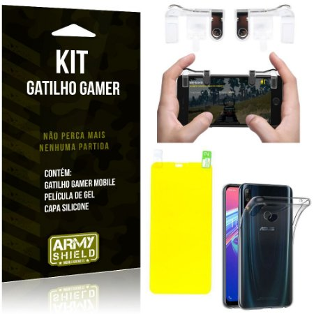 Gatilho Gamer Zenfone Max Pro M2 ZB631KL Gatilho + Capa Silicone + Película Gel - Armyshield