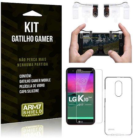 Gatilho Gamer LG K10 Novo Gatilho + Capa Silicone + Película Vidro - Armyshield