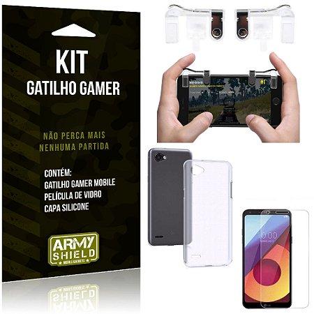 Gatilho Gamer LG Q6 - Q6 Plus Gatilho + Capa Silicone + Película Vidro - Armyshield