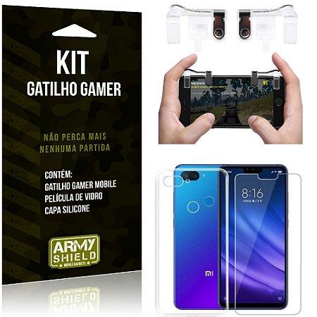 Gatilho Gamer Xiaomi Mi 8 Lite Gatilho + Capa Silicone + Película Vidro - Armyshield