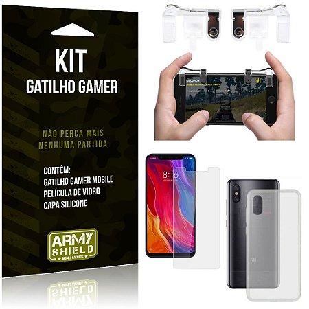 Gatilho Gamer Xiaomi Mi 8 Pro Gatilho + Capa Silicone + Película Vidro - Armyshield