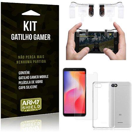 Gatilho Gamer Xiaomi Redmi 6A Gatilho + Capa Silicone + Película Vidro - Armyshield