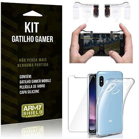 Gatilho Gamer Xiaomi Redmi Note 6 Pro Gatilho + Capa Silicone + Película Vidro - Armyshield