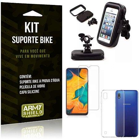 Suporte Celular Bike e Moto Galaxy A10 Suporte + Capa Silicone + Película Vidro - Armyshield