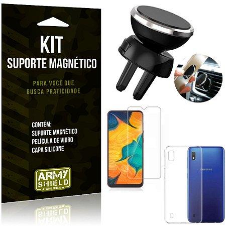 Suporte Magnético Galaxy A10 Suporte + Capa Silicone + Película Vidro - Armyshield